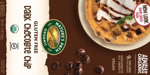 Nature's Path Organic Gluten Free Dark Chocolate Chip Waffles 6 Count Perspective: back