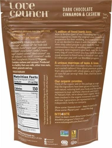 Nature's Path Organic Love Crunch Dark Chocolate Cinnamon & Cashew Organic Granola Perspective: back