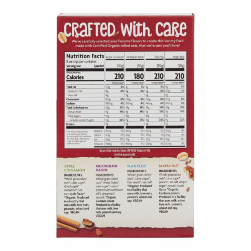 Nature's Path Organic Instant Oatmeal Variety Pack Perspective: back