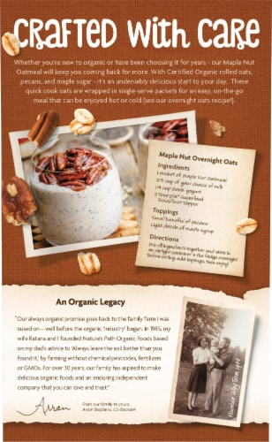 Nature's Path Organic Maple Nut Instant Oatmeal Perspective: back