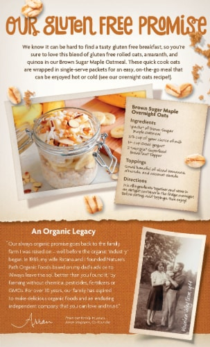 Nature's Path Organic® Gluten Free Brown Sugar Maple Instant Oatmeal Perspective: back