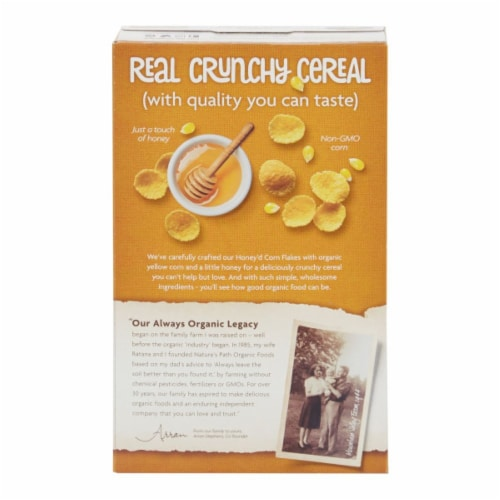 Nature's Path Organic Honey'd Corn Flakes Cereal Perspective: back