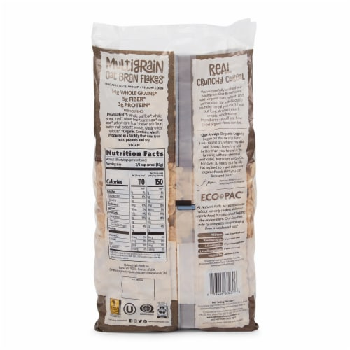 Nature's Path Organic Multigrain Oat Bran Flakes Cereal Perspective: back