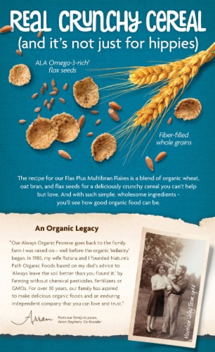 Nature's Path Organic Flax Plus Multibran Flakes Cereal Perspective: back