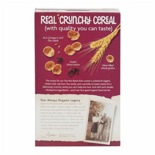Nature's Path Organic Flax Plus Raisin Bran Cereal Perspective: back