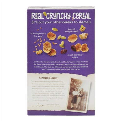 Nature's Path Organic Flax Plus Pumpkin Raisin Crunch Cereal Perspective: back