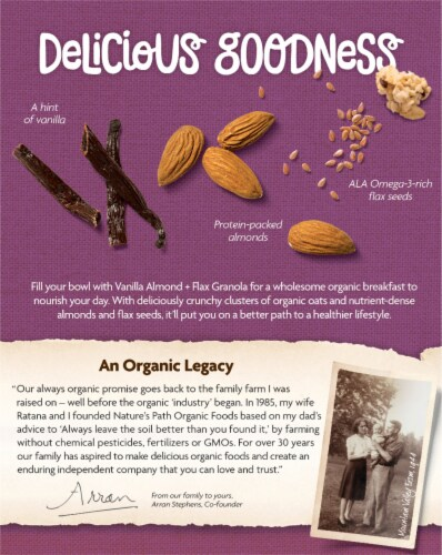 Nature's Path Organic Vanilla Almond and Flax Granola Cereal Perspective: back