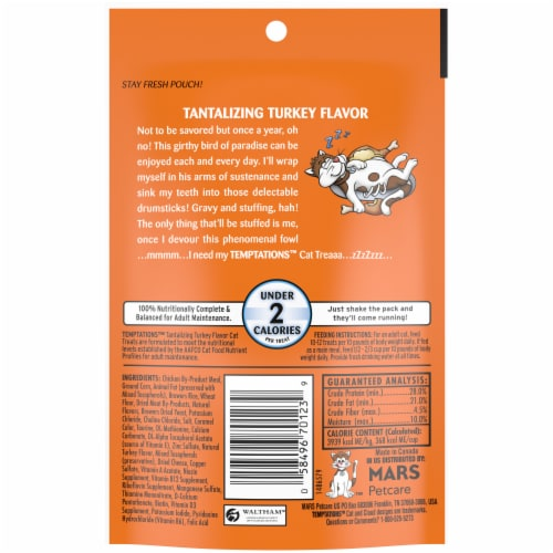 Temptations Tantalizing Turkey Flavor Cat Treats Pouch Perspective: back