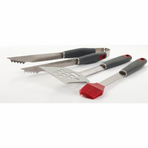 GrillPro Resin Handle Stainless Steel 3-Piece BBQ Tool Set 40025 Perspective: back
