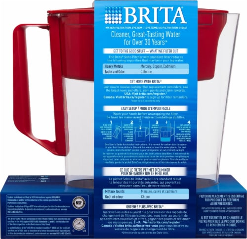 Brita SOHO Water Filter Pitcher - Red Perspective: back