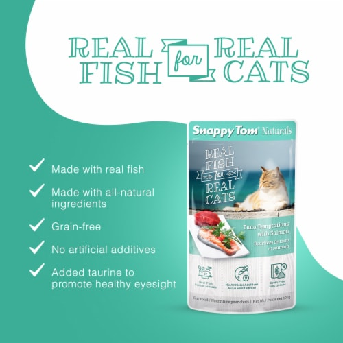 Snappy Tom Naturals Tuna Temptations with Salmon 3.5oz (12 Pack) Perspective: back