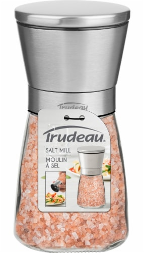 Trudeau Upside Down Pink Himalayan Salt Mill - Clear/Silver Perspective: back