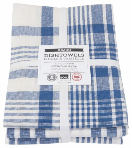 Now Designs Extra Large Wovern Cotton Kitchen Dish Towels Royal Blue Set of 3 Perspective: back