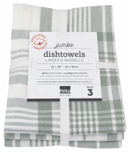 Now Designs Extra Large Wovern Cotton Kitchen Dish Towels London Gray Set of 3 Perspective: back