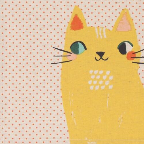 Danica Studio Coordinated Prints Meow Meow Cotton Linen Dish Towels Perspective: back