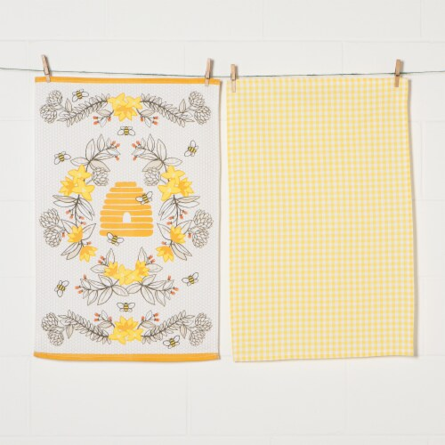 Now Designs 100% Cotton Woven Bee Print Kitchen Dish Towels Perspective: back