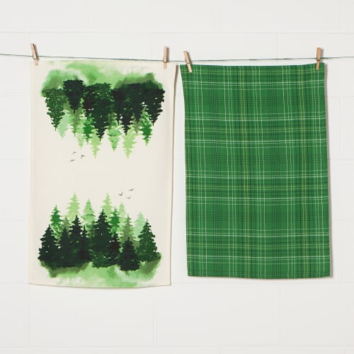 Now Designs 100% Cotton Woven Printed Kitchen Dish Towels Woods Set of 2 Perspective: back