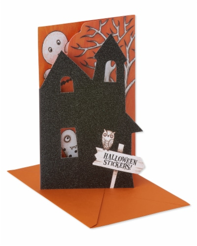 American Greetings Halloween Card with Stickers (Haunted House) Perspective: back