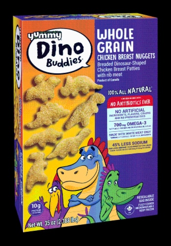 Yummy Whole Grain Chicken Breast Dinosaur-Shaped Nuggets Perspective: back