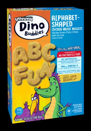 Yummy Dino Buddies Alphabet-Shaped Chicken Breast Nuggets Perspective: back