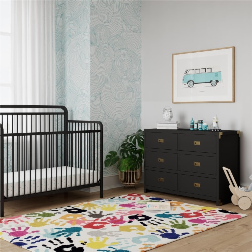 Baby Relax Miles 6-Drawer Dresser, Black Wood Perspective: back