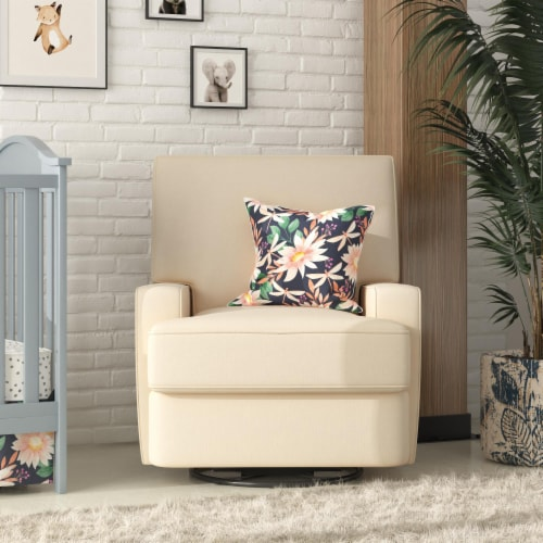 Baby Relax Rylan Swivel Glider Recliner Chair, Coil Seating, Beige Perspective: back