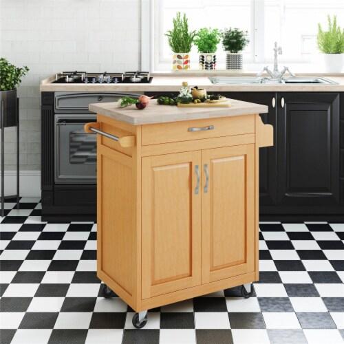 Dorel Living Wood Top Kitchen Cart in Natural Perspective: back