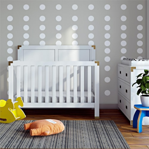 Baby Relax Miles 5-in-1 Convertible Crib, White Perspective: back