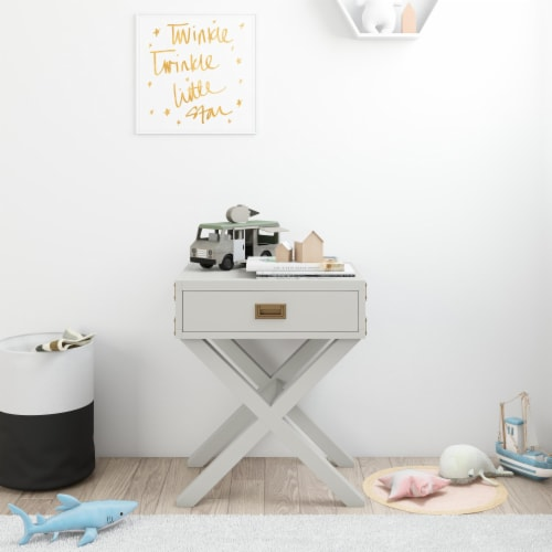 Baby Relax Miles Nightstand, Graphite Gray Wood Perspective: back