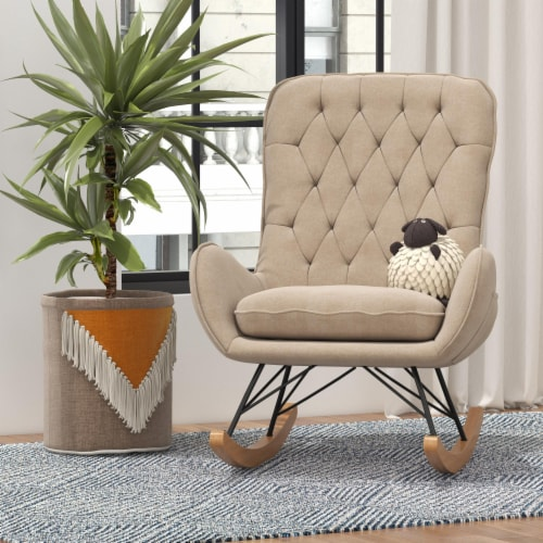 Baby Relax Noah Rocker Chair with Side Storage Pockets, Taupe Perspective: back