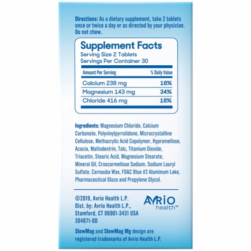 Slow-Mag Magnesium Chloride Tablets Perspective: back