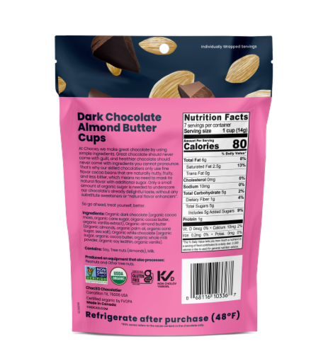 ChocXO Dark Chocolate Almond Butter Cups Perspective: back