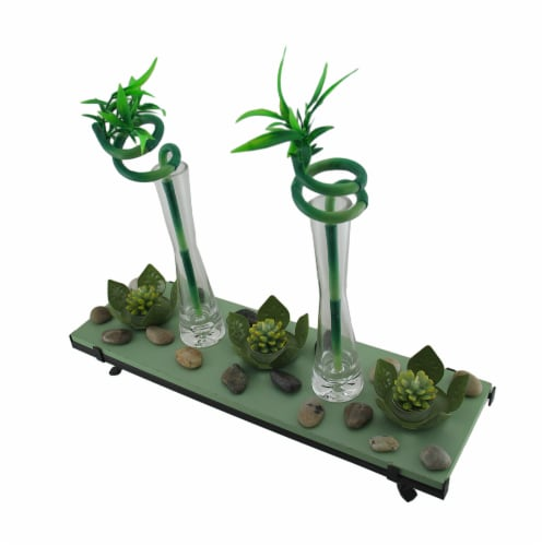3 Lotus Flower Tealight Holder 2 Lucky Bamboo Candle Garden Set Perspective: back