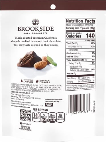 Brookside Dark Chocolate Covered Whole Almonds Perspective: back