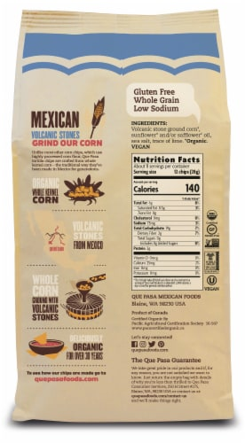 Que Pasa Organic Blue Corn Tortilla Chips Perspective: back