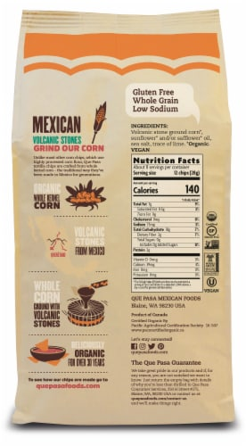 Que Pasa Organic Yellow Corn Tortilla Chips Perspective: back