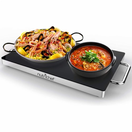 """NutriChef Portable 16.5 x 11"""" Electric Food Warmer Platter Tray Buffet Hot Plate Perspective: back"""