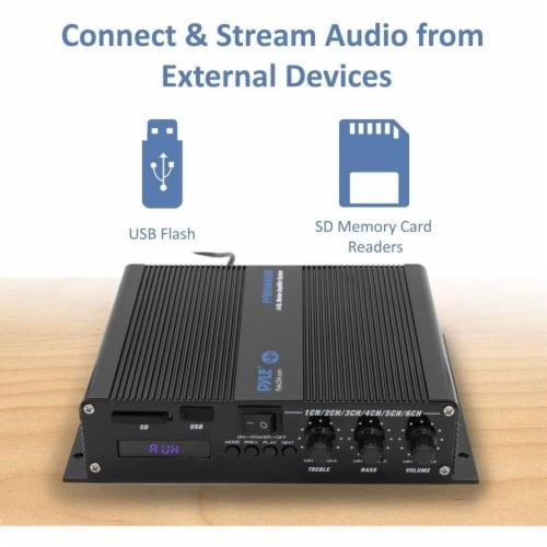 Pyle 6 Channel 600 Watt Marine Amp Amplifier Bluetooth Receiver Sound System Perspective: back