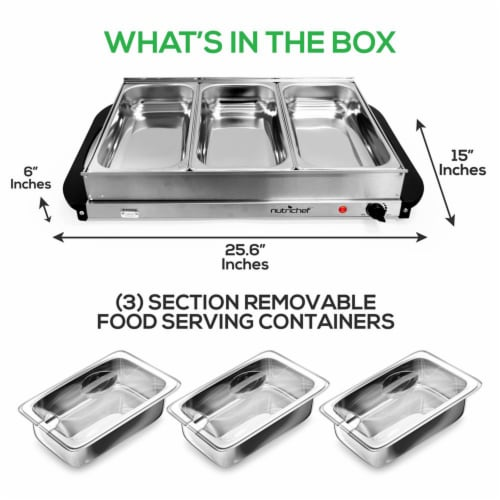 Nutrichef PKBFWM33 NutriChef Electric 3 Tray Buffet Server Hot Plate Food Warmer Perspective: back