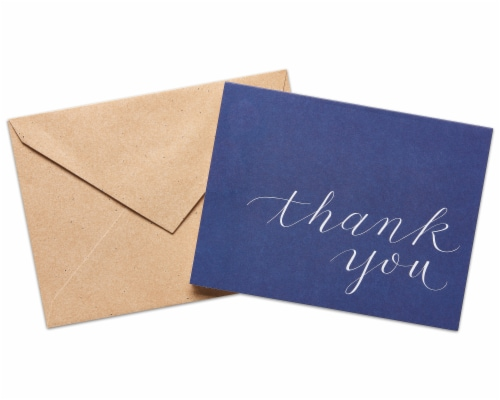 American Greetings Navy Blue Thank You Cards with Kraft-Style Envelopes Perspective: back