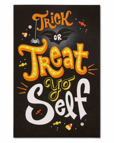 American Greetings Funny Halloween Greeting Cards, 6-Count (Treat Yo Self) Perspective: back