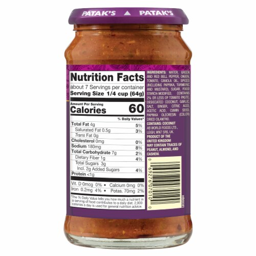Patak's Jalfrezi Curry Indian Simmer Sauce - Medium Spiced Perspective: back