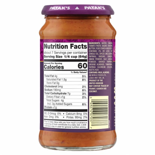 Patak's® Butter Chicken Curry Simmer Sauce Perspective: back