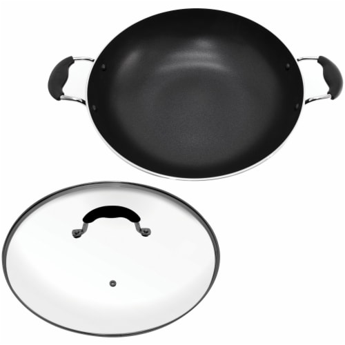 Starfrit 033170-002-0000 Jumbo 13.5-Inch Wok with Lid Perspective: back