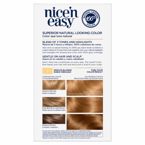 Clairol Nice'n Easy 8 Medium Blonde Hair Color Perspective: back