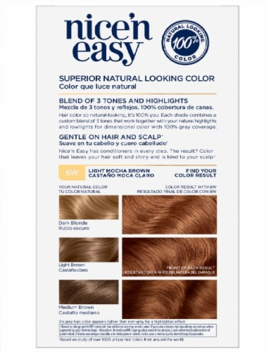 Clairol Natural Looking Nice'n Easy Permanent 6W Light Mocha Brown Color Perspective: back
