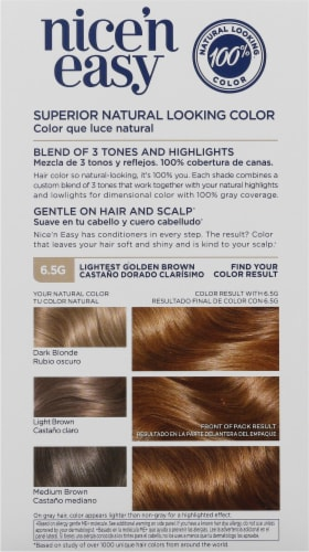 Clairol Nice'n Easy 6.5G Lightest Golden Brown Permanent Hair Color Perspective: back