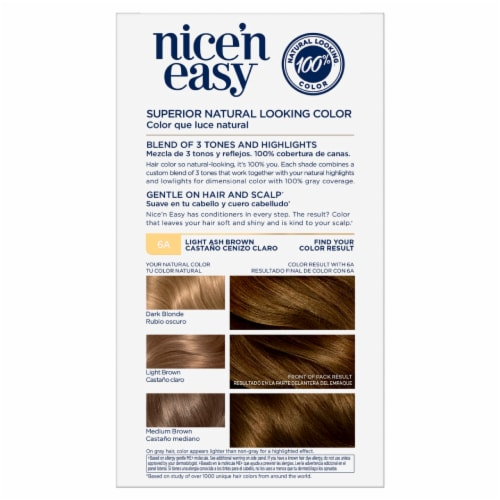 Clairol Natural Looking Nice'n Easy Permanent 6A Light Ash Brown Color Perspective: back