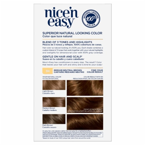 Clairol Natural Looking Nice'n Easy 5N Medium Neutral Brown Hair Color Perspective: back