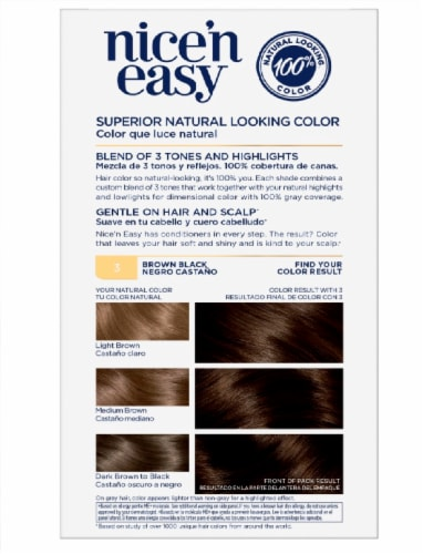 Clairol Nice'n Easy 3 Brown Black Permanent Hair Color Perspective: back